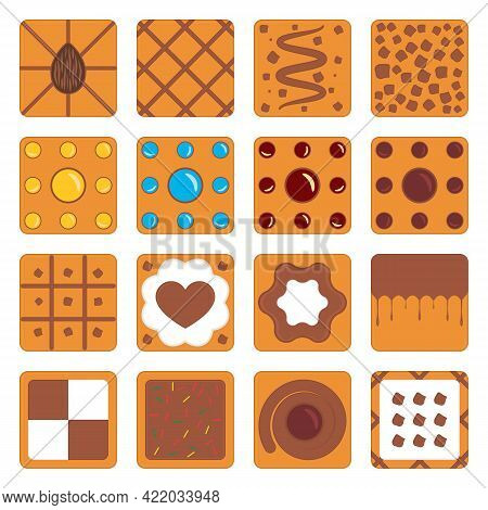 Set Of Square Cookies With Caramel, Chocolate, Nuts And Various Fillings. Vector Illustrations And D