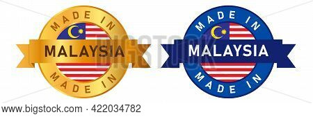 Product Manufactured By Malaysian Company Seal Golden Ribbon And Flag