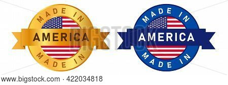 Made In America Usa United States Label Stamp For Product Manufactured By America Company Seal Golde
