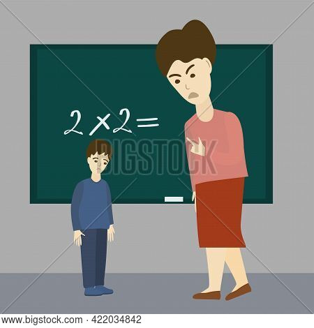 Teacher Yells At Boy. Scared Child And Angry Teacher. Psychological Abuse. Vector Illustration