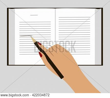 Open Book. Human Hand Holding Pencil View From Above. Isolated Vector Illustration On Gray Backgroun