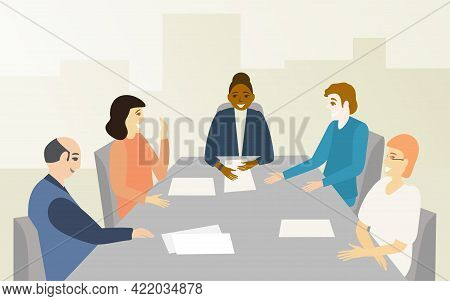 Woman Boss And Her Team Discuss Project And Rejoice At Success. The City Visible Through The Window.