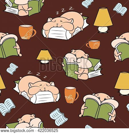 Happy Hamsters Lamps And Cups Cosy Reading Seamless Pattern