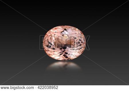 Natural Mined Unheated, Bright Pink Peech Color Oval Faceted Loose Morganite Beryl Loupe Clean Singl