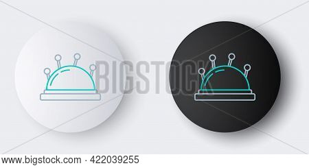 Line Needle Bed And Needles Icon Isolated On Grey Background. Handmade And Sewing Theme. Colorful Ou