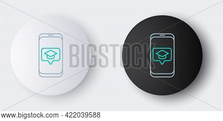 Line Graduation Cap On Screen Smartphone Icon Isolated On Grey Background. Online Learning Or E-lear
