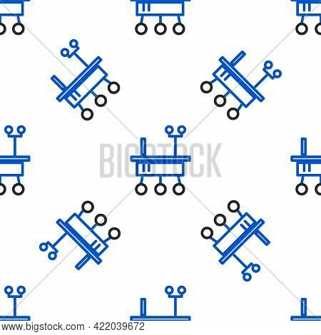 Line Mars Rover Icon Isolated Seamless Pattern On White Background. Space Rover. Moonwalker Sign. Ap