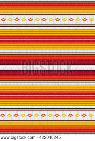 Ethnic Boho Fabric Illustration. Colorful Stripes Background. Mexican Style Vector Seamless Pattern.