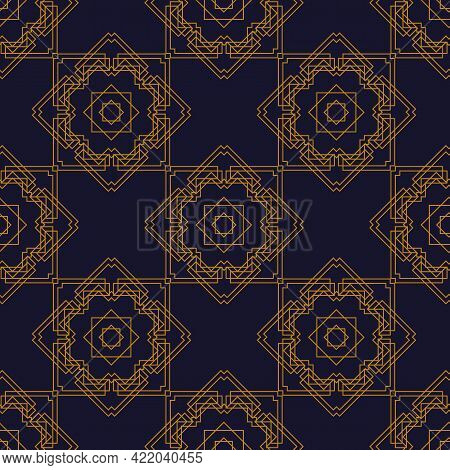 Art Deco Pattern Is Depicted On A Dark Blue Background. Art Deco Geometric Gold Seamless Texture.