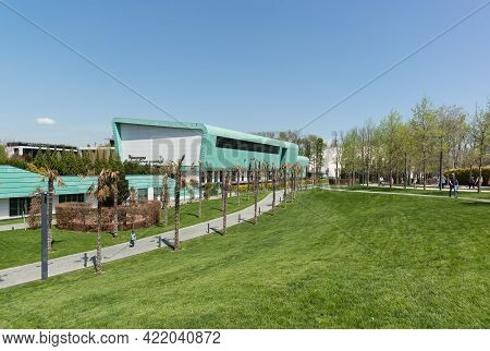 Krasnodar, Russia-may 02, 2021: Dried Palm Trees And A Spring Lawn In The Park. Green Building Of Th