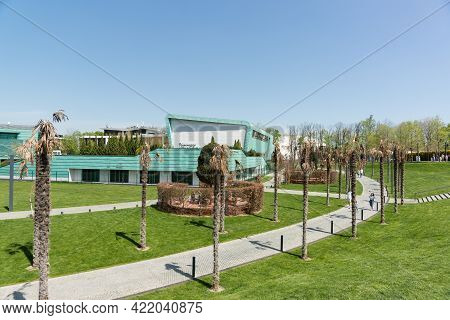 Krasnodar, Russia-may 02, 2021: Dried Palm Trees Near The Paths In The Park. Green Building Of The C