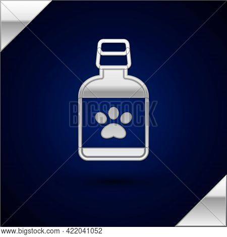 Silver Dog Medicine Bottle Icon Isolated On Dark Blue Background. Container With Pills. Prescription