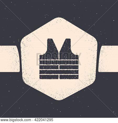 Grunge Life Jacket Icon Isolated On Grey Background. Life Vest Icon. Extreme Sport. Sport Equipment.