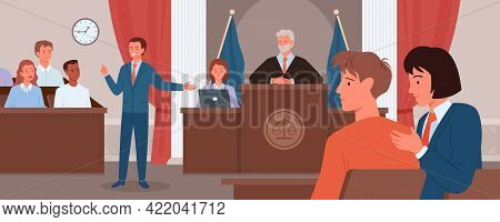 Court Judgment, Law Justice Concept Vector Illustration. Cartoon Advocate Lawyer Or Prosecutor Chara