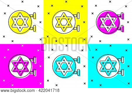 Set Jewish Synagogue Building Or Jewish Temple Icon Isolated On Color Background. Hebrew Or Judaism