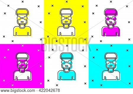 Set Nerd Geek Icon Isolated On Color Background. Vector