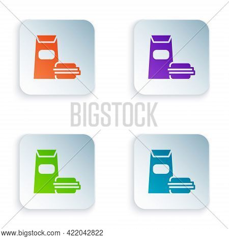 Color Burger Icon Isolated On White Background. Hamburger Icon. Cheeseburger Sandwich Sign. Fast Foo