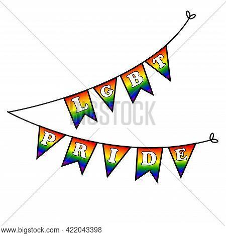 Happy Pride Month Garland. Rainbow Love Concept. Pride Day Lgbtq Concept, Lgbt Pride Month Poster Ca