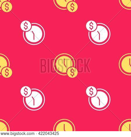 Yellow Time Is Money Icon Isolated Seamless Pattern On Red Background. Money Is Time. Effective Time