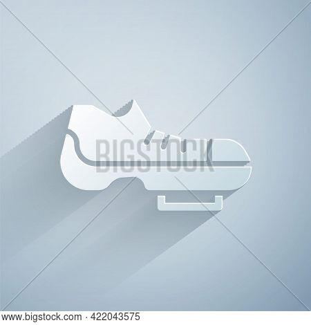 Paper Cut Triathlon Cycling Shoes Icon Isolated On Grey Background. Sport Shoes, Bicycle Shoes. Pape