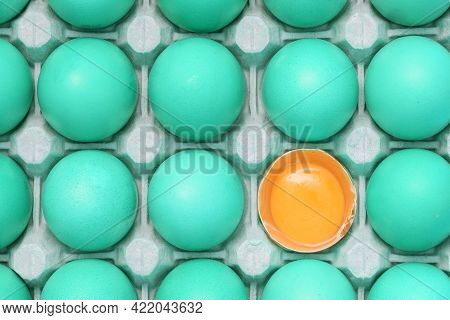 Many Fresh Raw Green Chicken Eggs In Cartons As Background, Top View