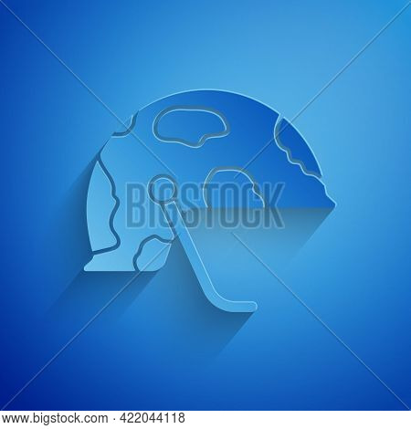 Paper Cut Military Helmet Icon Isolated On Blue Background. Army Hat Symbol Of Defense And Protect.