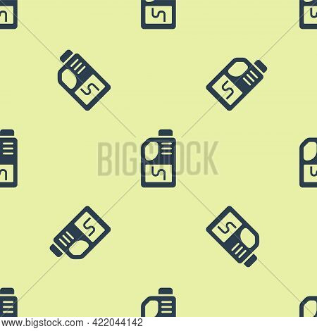 Blue Drain Cleaner Bottle Icon Isolated Seamless Pattern On Yellow Background. Water Pipes Cleaning.