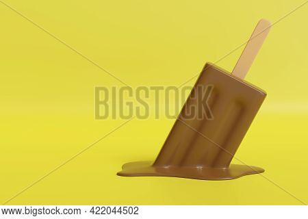 Melted Chocolate Ice Cream On A Yellow Background. 3d Illustration.
