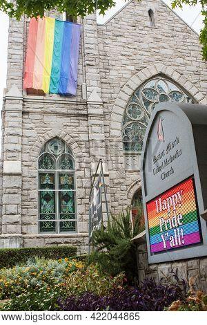 Atlanta, Ga/usa - October 12:  A Gay Pride Flag Hangs From A Church, And Digital Signage Says