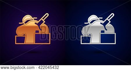 Gold And Silver Murder Icon Isolated On Black Background. Body, Bleeding, Corpse, Bleeding Icon. Con