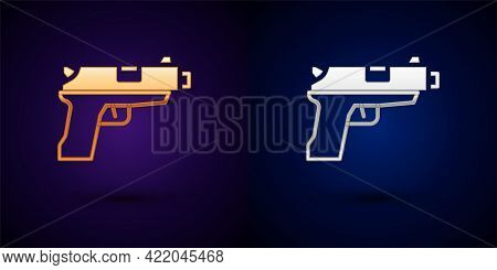Gold And Silver Pistol Or Gun Icon Isolated On Black Background. Police Or Military Handgun. Small F