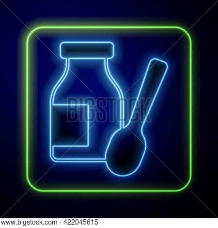 Glowing Neon Drinking Yogurt In Bottle With Spoon Icon Isolated On Blue Background. Vector
