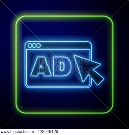 Glowing Neon Advertising Icon Isolated On Blue Background. Concept Of Marketing And Promotion Proces