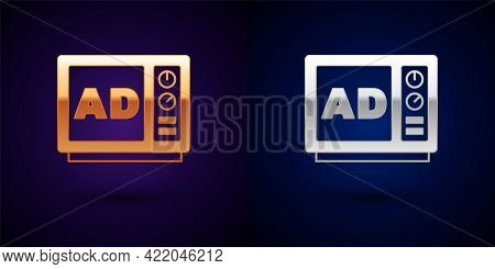 Gold And Silver Advertising Icon Isolated On Black Background. Concept Of Marketing And Promotion Pr