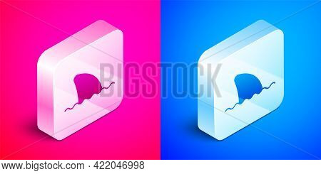 Isometric Shark Fin In Ocean Wave Icon Isolated On Pink And Blue Background. Silver Square Button. V