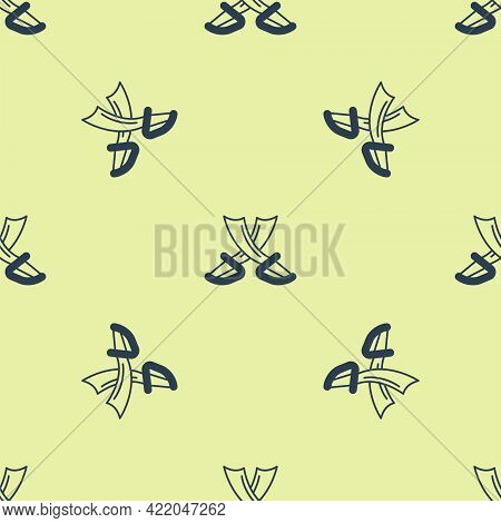 Blue Crossed Pirate Swords Icon Isolated Seamless Pattern On Yellow Background. Sabre Sign. Vector