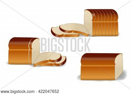 Set Of Pack Of Sliced Bread Or Toast Bread Packaged With Clip Or Realistic Bread Bakery Sliced Fresh