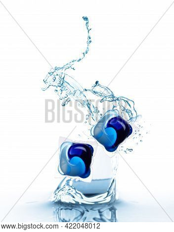 Laundry Capsules Falling Into Water On White Background. Detergent Pods