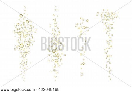 Fizzy Sparkles In Realistic Effervescent Champagne Drink, Soda Effect, Clean Oxygen, Beer, Or Gas.