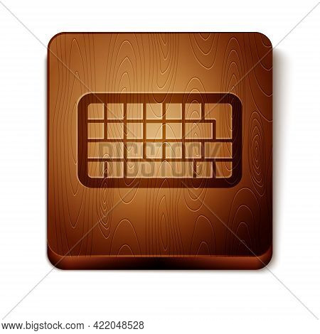 Brown Computer Keyboard Icon Isolated On White Background. Pc Component Sign. Wooden Square Button.
