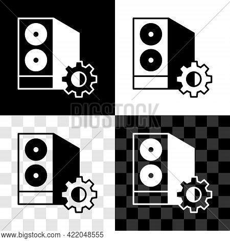 Set Case Of Computer Setting Icon Isolated On Black And White, Transparent Background. Computer Serv