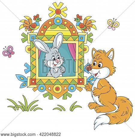Sly Red Fox Talking To A Little Grey Hare Looking Out Of A Traditionally Decorated Window Of A Villa