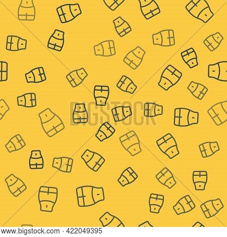 Blue Line Women Waist Icon Isolated Seamless Pattern On Yellow Background. Vector