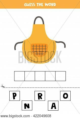 Spell The Word Apron. Vector Illustration Of Kitchen Apron. Spelling Game For Kids.