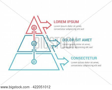 Pyramid With Three Elements And Place For Your Text, Infographic Template For Web, Business, Present