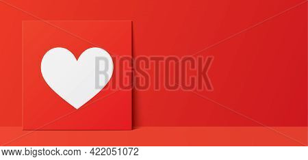 Romantic Vector Banner With A White Heart.