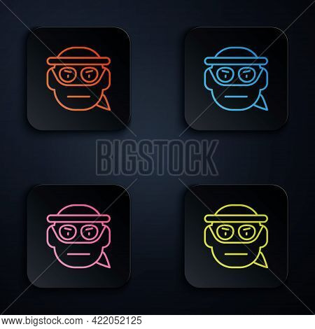Color Neon Line Bandit Icon Isolated On Black Background. Set Icons In Square Buttons. Vector