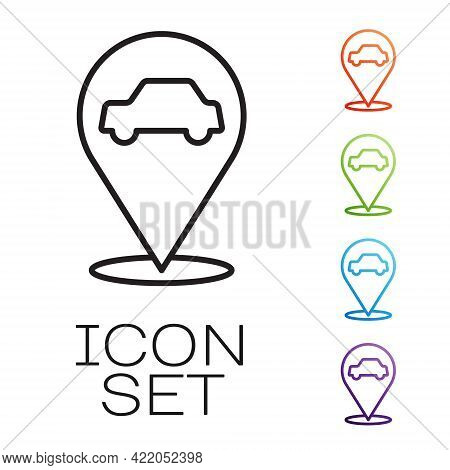 Black Line Location With Car Service Icon Isolated On White Background. Auto Mechanic Service. Repai