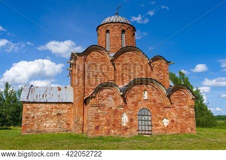 Ancient Church Of The Transfiguration Of The Savior (savior On Kovalevo) Close-up On A Sunny June Da