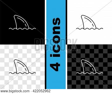 Set Line Shark Fin In Ocean Wave Icon Isolated On Black And White, Transparent Background. Vector